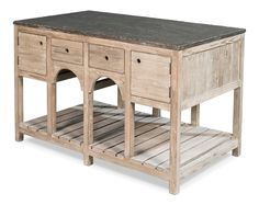 French Country Island Reclaimed Pine Dark Grey Stone Top | Martelle