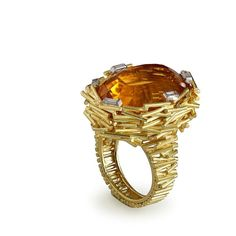 A citrine and diamond 'Bird's Nest' ring by Andrew Grima, 1969 | @masterpiecelondon #grimajewellery
