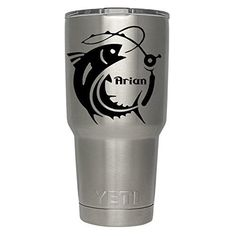 """Bass Fishing Pole with name decal for yeti,rtic, ozark tumblers, laptops, car decals. This is listing is for ONE Yeti Tumbler Coach Decal ONLY """"Custom Bass Fishing Pole w/name decal """" This Listing does NOT include a Yeti Cup. Please choose your cup size and Decal Color from drop down menu to the right. Please leave your name if custom name needed. Thank you for visiting our store! The decals are made from high quality oracle 651 vinyl. Please check out other items I may have. We do custom..."""