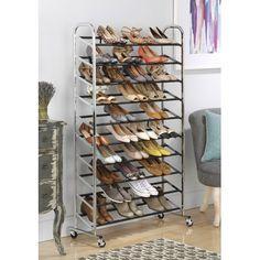 Advertisement - Vertical Shoe Rack Narrow Tall 50 Pair Rolling Metal Storage 10 Tier Chrome NEW Best Shoe Rack, Diy Shoe Rack, Shoe Racks, Door Shoe Organizer, Closet Organization, Organization Station, Organization Ideas, Organizing, Vertical Shoe Rack