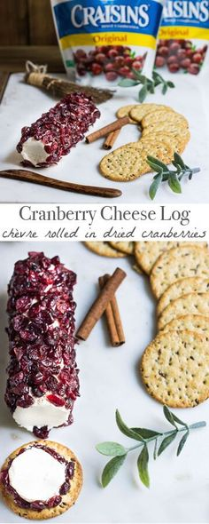 An irresistible cheese log made with Craisins® Dried Cranberries. Served with crackers, it's the perfect food to entertain guests with this fall. Recipe via MonPetitFour.com #BetterWithCraisins #ad
