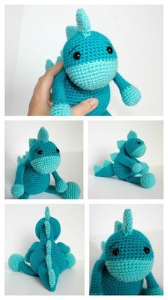 Free Crochet Dinosaur Pattern- The Friendly Dino. This free crochet dinosaur pattern has five spikes, a tail and the friendliest little expression. About 8 inches sitting down and 12 from foot to spike.