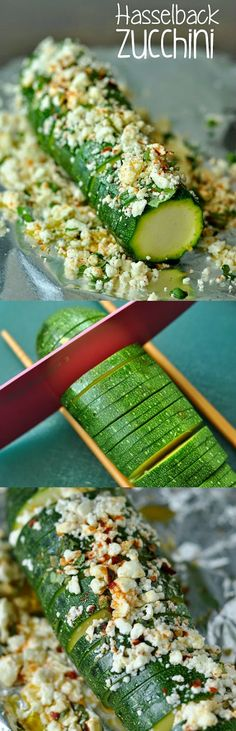 Zesty Feta Hasselback Zucchini :: Tender zucchini squash drizzled in evoo and topped with lemon, basil and creamy feta cheese. An easy foil-baked side dish that's sure to impress!