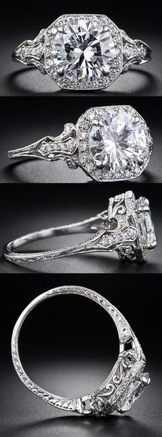 2.17 Carat & D color diamond Edwardian style engagement ring at Lang Antiques.