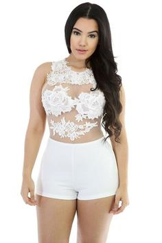 White Crochet Sleeveless Romper LAVELIQ SALE