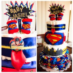 Superman Diaper Cake! #110diapers #bib #blanket