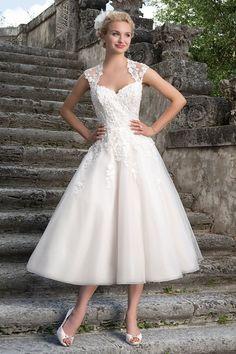 Sincerity Bridal Tea Length Wedding Dress 3875