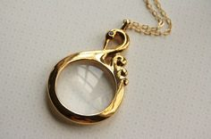 Swan Bird Magnifying Glass Necklace, Magnifier Pendant, Long Gold Jewelry, Unique Vintage Jewellery, Fashion