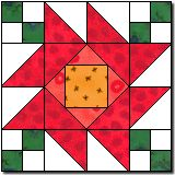 POSY CHAIN QUILT PATTERN. Free. Downloadable pattern for the triangle template. Layout is illustrated. Links to examples of completed blocks and alternate layout.