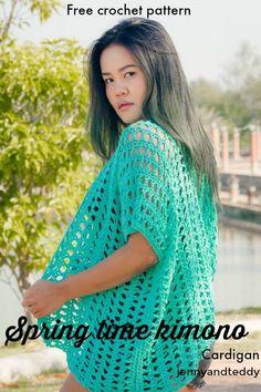 spring time kimono cardigan beginner friendly free crochet pattern by jennyandteddy1 #CrochetTutorial