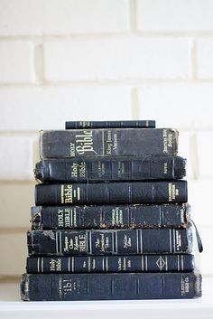 Stack of old Bibles