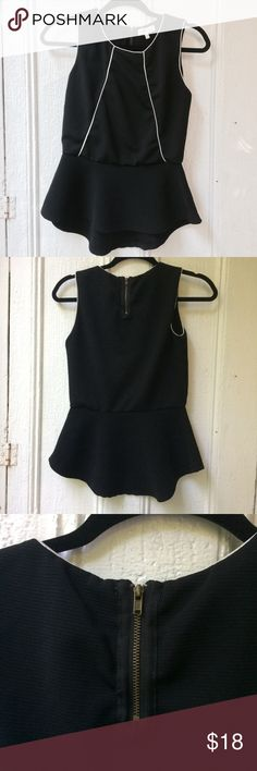 ✨New✨Peplum top Cute black peplum top with flattering & modern white piping detail. Fully lined in soft cotton, very comfy and stretchy material. Zipper on neck. Offers welcome! Monteau Tops Blouses