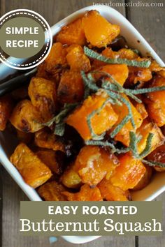 A delicious and easy fall side dish with cubes of butternut squash roasted to caramelized perfection! Roasted Butternut Squash Cubes, Paleo Recipes, Real Food Recipes, Sweet Potato, Side Dishes, Easy Meals, Vegetables, Diva, Soup