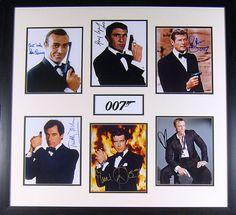 Autographs of all the James Bond actors (George Lazenby, Sean Connery, Roger Moore, Timothy Dalton, Pierce Brosnan, Daniel Craig)