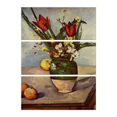 3-tlg. Leinwandbilder-Set Alte Meister Stillleben mit Tulpen und Äpfel von Paul Cézanne, Kunstdruck