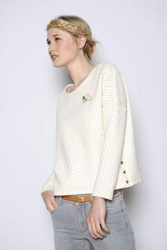 Sweat Houpette ecru pois 80% coton 20% polyester - sweat Femme - Des petits hauts