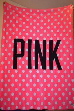 Victorias Secret PINK Holiday Large Stadium COZY SOFT BLANKET Polka Dots NEW