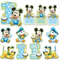 Mickey Mouse Birthday Cutouts Let Mickey, Donald and Pluto make your party room extra festive with our Mickey Mouse Birthday Cutouts! These colorful cutouts feature baby Mickey, Donald Duck, pupp Mickey 1st Birthdays, Mickey Mouse First Birthday, Mickey Mouse Clubhouse Birthday Party, Baby Boy 1st Birthday, Mickey Mouse Parties, Mickey Party, Mickey Mouse And Friends, 1st Birthday Party Supplies, 1st Birthday Parties