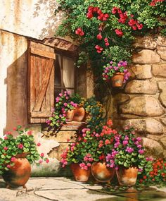 ✿Flowers at the window & door✿ 'Garden In Bloom' ~ Victor Arriola Pictures To Paint, Art Pictures, Watercolour Painting, Painting & Drawing, Watercolors, Belle Image Nature, Images D'art, Decoupage, Landscape Art