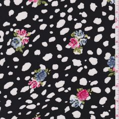 Spotted challis with floral over print.