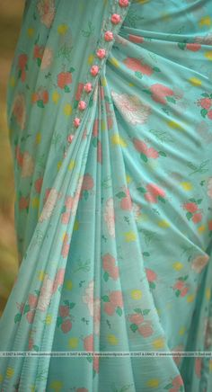 Printed floral chiffon saree with body shades attached border and lace comes with running blouse as shown in the pic - SalvabraniMermaid's Dream Pure Silk-Chiffon Printed Saree with Raw-Silk Ribbon Embroidered Blouse Floral Print Sarees, Saree Floral, Printed Sarees, Floral Prints, Floral Print Fabric, Trendy Sarees, Fancy Sarees, Saree Blouse Patterns, Saree Blouse Designs