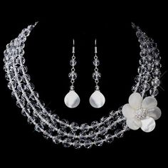 RaeBella Beach Bride Resort Jewelry Set : Crystal & Mother-Of-Pearl Flower Necklace & Earrings   - Click image twice for more info - See a larger selection of bridal jewelry at http://zweddingsupply.com/product-category/jewelry/ -  woman, wedding fashion, wedding style, bride accessories