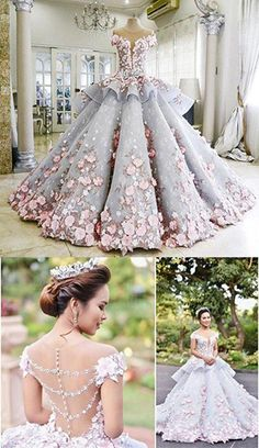 Luxurious Ball Gown Backless Appliqued Long Wedding Dress,Wedding Gown with Flow. Luxurious Ball G Wedding Dress Trends, Princess Wedding Dresses, Wedding Bridesmaid Dresses, Dream Wedding Dresses, Wedding Gowns, Pretty Quinceanera Dresses, Cute Prom Dresses, Pretty Dresses, Quince Dresses