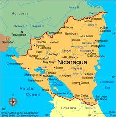Nicaragua es en Sud America. El es debajo de Honduras. El capital es Managua. El poblacion es circa de 6 milone personas. La bandera es azul y blanca.