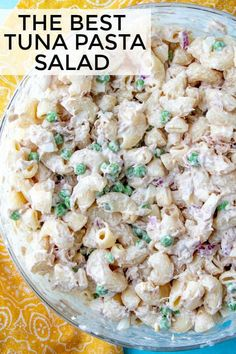 Creamy easy and the perfect picnic side this Tuna Pasta salad is full of noodles peas red onion tuna all tossed in a deliciously creamy and easy sauce. Seafood Recipes, Cooking Recipes, Healthy Recipes, Cold Pasta Recipes, Pea Recipes, Food Network Recipes, Healthy Foods, Tuna Salad Pasta, Tuna Pasta Salad Recipe Easy