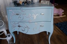 this is a new dresser done with metallic paints. Nightstand, Dresser, Antique Furniture For Sale, Metallic Paint, Dressing Room, Diva, Cabinet, Antiques, Storage