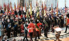 The Standards, Guidons and Colours of The Battle Of Waterloo leave in procession after the...