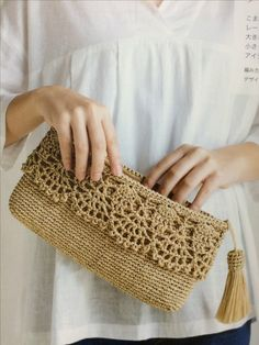Crochet Diy How to Crochet: Crochet Diy, Crochet Simple, Crochet Pouch, Crochet Crafts, Crochet Clutch Bags, Crochet Purse Patterns, Crochet Handbags, Crochet Purses, Crochet Bags