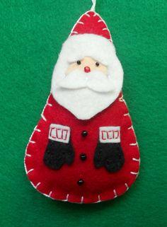 felt Santa ornament (no pattern) Handmade Christmas Crafts, Santa Crafts, Felt Christmas Ornaments, Santa Ornaments, Handmade Ornaments, Felt Crafts, Holiday Crafts, Christmas Makes, Christmas Art