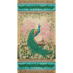Timeless Treasures Jewel of the Garden 24'' Peacock Panel from @fabricdotcom  Designed by Dona Gelsinger for Timeless Treasures, this cotton print panel is perfect for quilting, apparel and home decor accents. Colors include jade, cherry blossom, blush, cream, gold, beige, green, white, black, blue, and turquoise.  Panel measures approximately 24'' x 44''.