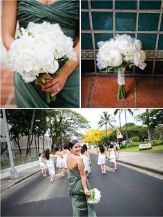 We love how bride Kristina's white bouquet popped against her dark dress.