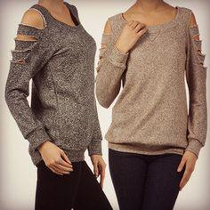 DIY cut wholes in a sweater
