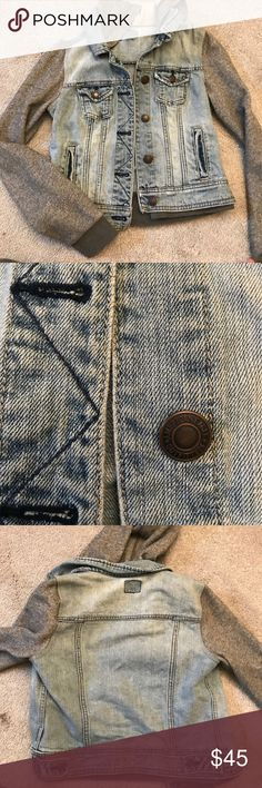 Jean jacket with sweat shirt sleeves Comfortable and soft sleeves with a cute and trendy jean vest look. I ripped the tag out because it bothered my neck but I've only worn like 2 times! Light and spring or can be layered for colder weather American Eagle Outfitters Jackets & Coats Jean Jackets