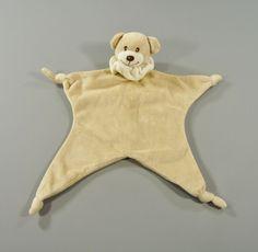 Doudou plat ours noeuds et collerette velours beige et écru Bambia