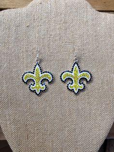 New Orleans Saints Earrings, Women, Football, Statement Earrings, Oversized Earrings, Who Dat Nation, Saints Jewelry, Saints Bling, Nola by TheBadaBling on Etsy