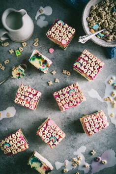 Dessert takes a nostalgic trip back to childhood with this Lucky Charms Cake recipe. A fluffy, from scratch vanilla cake is packed with marshmallows that melt to form painterly splashes of color. It's then slathered with a basic homemade buttercream Easy No Bake Desserts, Köstliche Desserts, Delicious Desserts, Dessert Recipes, Brunch Recipes, Baking Recipes, Cookie Recipes, Sweet Desserts, Fall Recipes