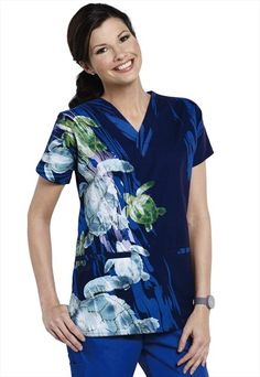 S.C.R.U.B.S. Baja Bound v-neck print scrub top. If you love turtles, this is the scrub top for you!