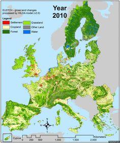 Gifje: hoe Europa in de afgelopen eeuw steeds meer bebossing kreeg. Je zou het niet denken, maar Europa heeft sinds de Eerste en Tweede Wereldoorlog ruim dertig procent meer bos gekregen. Wetenschappers van de Wageningen Universiteit hebben dat mooi in beeld gebracht in een gifje.
