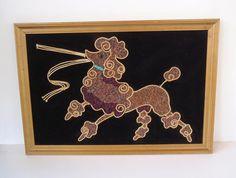 Vintage Poodle Gravel Art / Pebble Art/ Framed Poodle Print/ Poodle on Black Velvet/ Kitsch Poodle/ Retro Framed Art/ Purple Poodle/MCM Wall