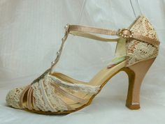Gatsby..  gold satin and vintage lace 1920s inspired wedding shoes..  personalized on Etsy, $250.00