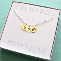 Hand Stamped Triathlon Necklace in Sterling by ShopSomethingBlue, $69.50