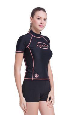 eca5b5fa6d Women Short Sleeve Rashguard Surf Rash Guard Tops Swimming Shirts UPF 50+