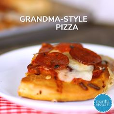 Grandma-Style Pizza | The thick, focaccia-like dough is a great blank canvas for mushrooms and pepperoni here but also works well with other toppings: Swap in crumbled raw sausage, partially cooked chopped bacon, anchovies, and sliced fresh vegetables like peppers, onions, and tomatoes. #food #recipe #pizza #marthastewart