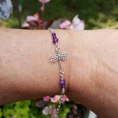 Amethyst Dragonfly Bracelet Or Anklet Wire Wrapped Sterling SIlver Boho Hippie One Of A Kind Artisan February Birthstone Jewelry by PeacefulVibesJewelry on Etsy