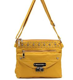 Yellow Stone Washed Messenger Purse In Stock: $36