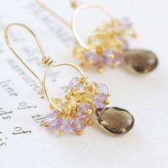 Gold+Gemstone+Earrings+Smoky+Quartz+Citrine+Amethyst+por+aubepine,+$42.00